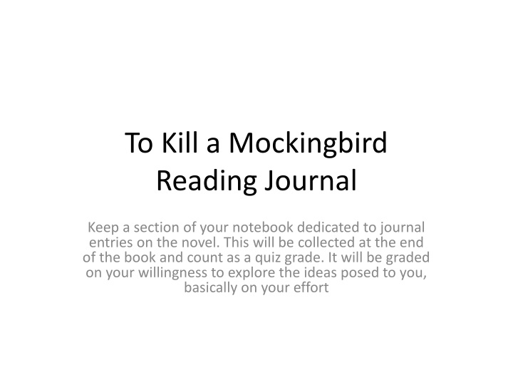 to kill a mockingbird reading journal n.