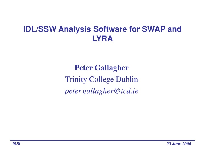 idl ssw analysis software for swap and lyra n.