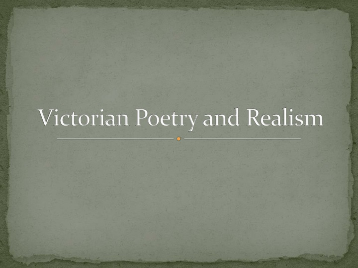 victorian poetry and realism n.
