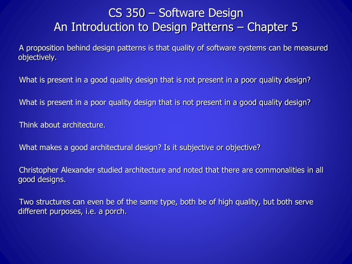 cs 350 software design an introduction to design patterns chapter 5 n.
