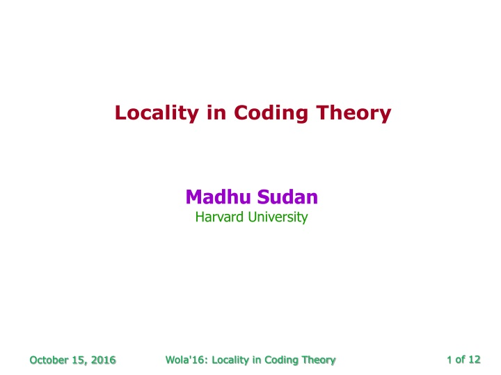 locality in coding theory n.