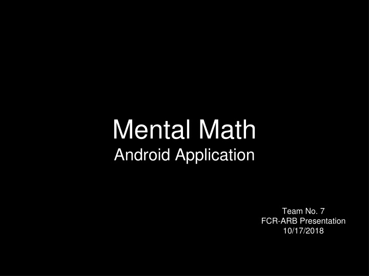 mental math android application n.