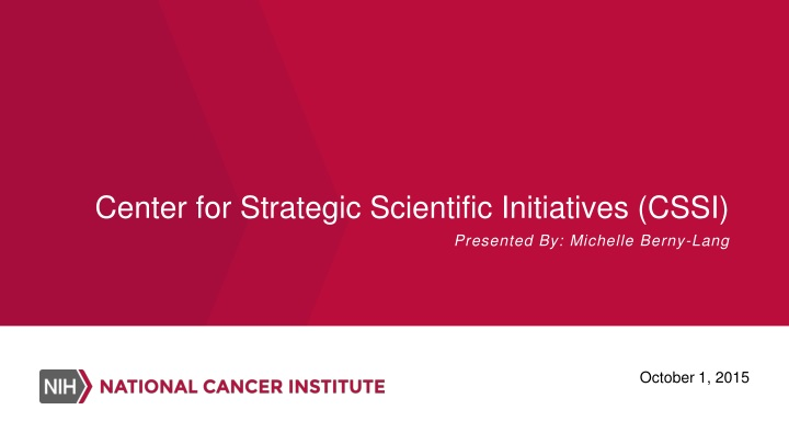 center for strategic scientific initiatives cssi n.
