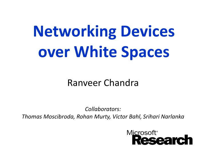 networking devices over white spaces n.