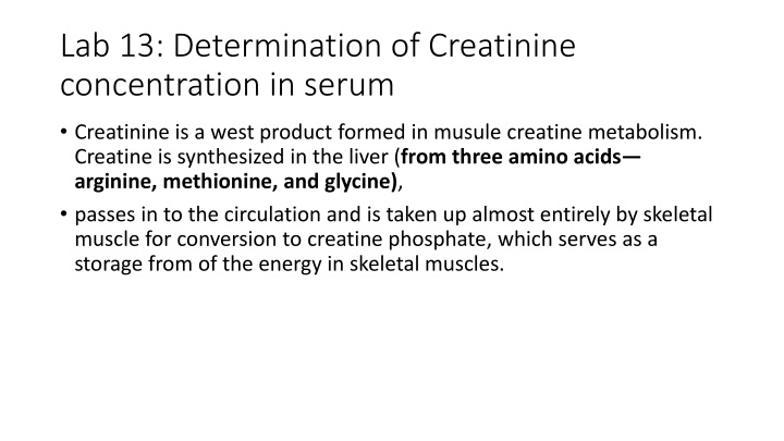 lab 13 determination of creatinine concentration in serum n.