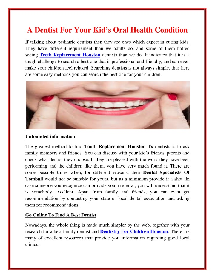 a dentist for your kid s oral health condition n.
