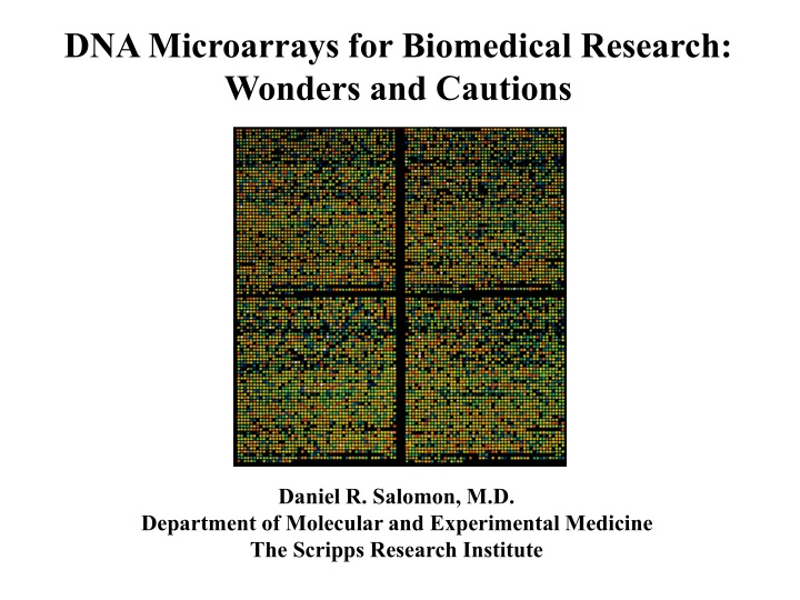 dna microarrays for biomedical research wonders n.