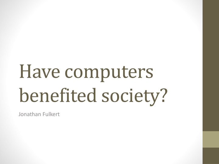 have computers benefited society n.