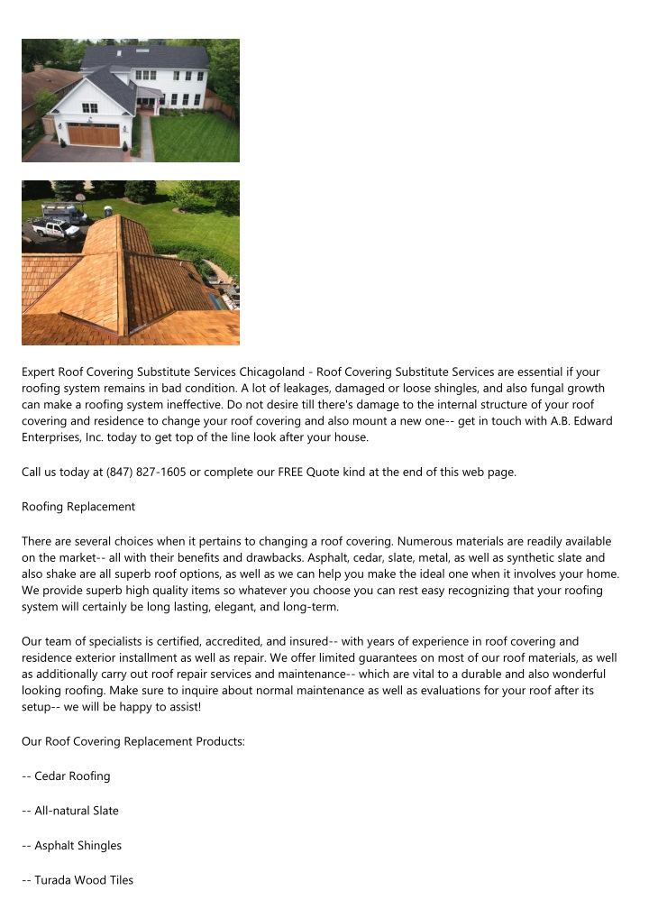 expert roof covering substitute services n.