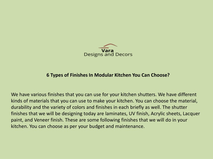 6 types of finishes in modular kitchen n.