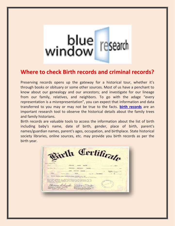 where to check birth records and criminal records n.