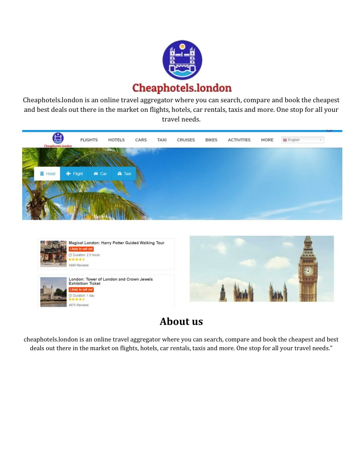 cheaphotels london is an online travel aggregator n.