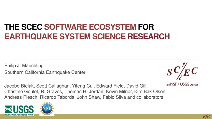 the scec software ecosystem for earthquake system science research n.