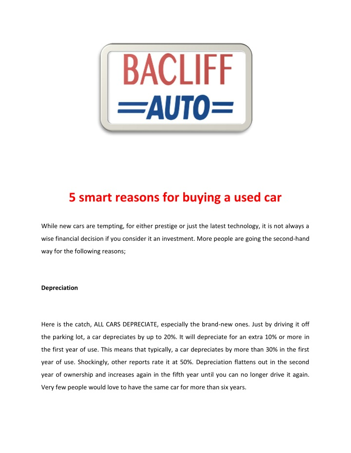 5 smart reasons for buying a used car n.