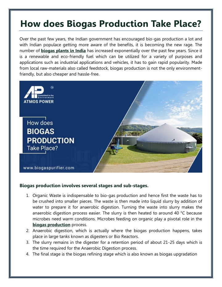 how does biogas production take place n.