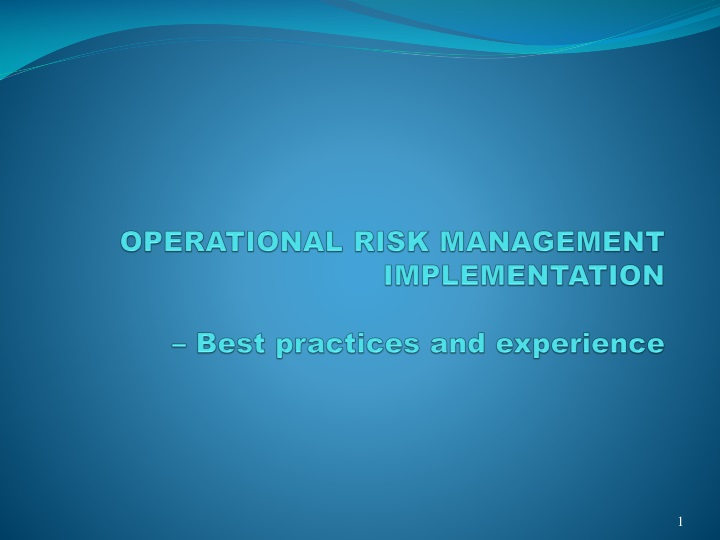 operational risk management implementation best practices and experience n.