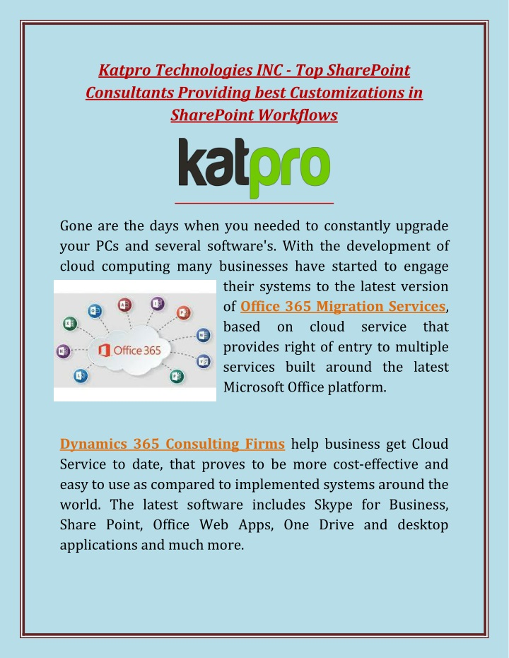 katpro technologies inc top sharepoint n.