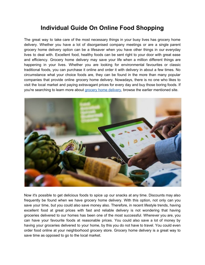 individual guide on online food shopping n.