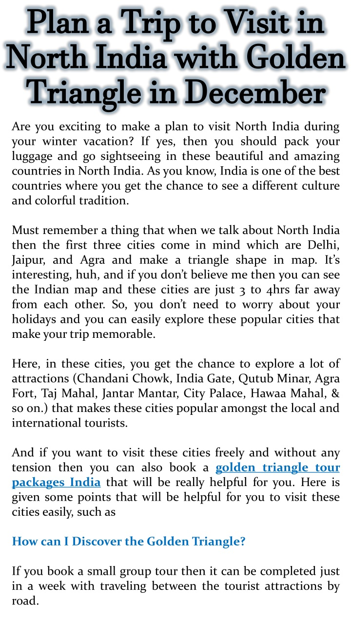plan a trip to visit in north india with golden n.