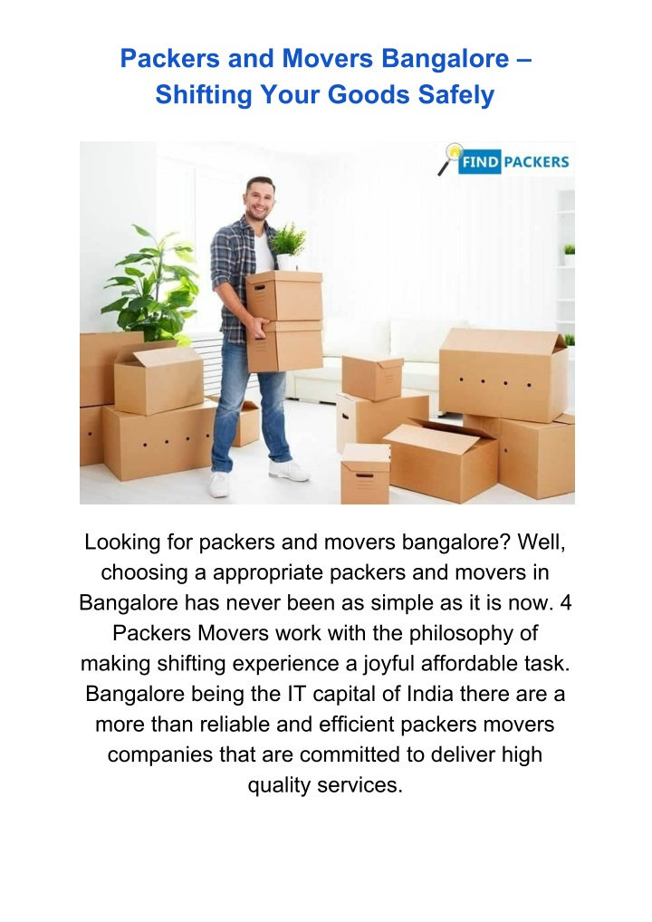 packers and movers bangalore shifting your goods n.
