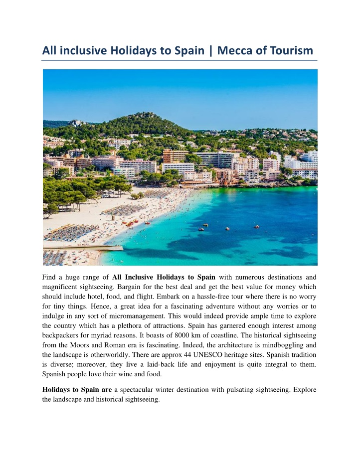 all inclusive holidays to spain mecca of tourism n.