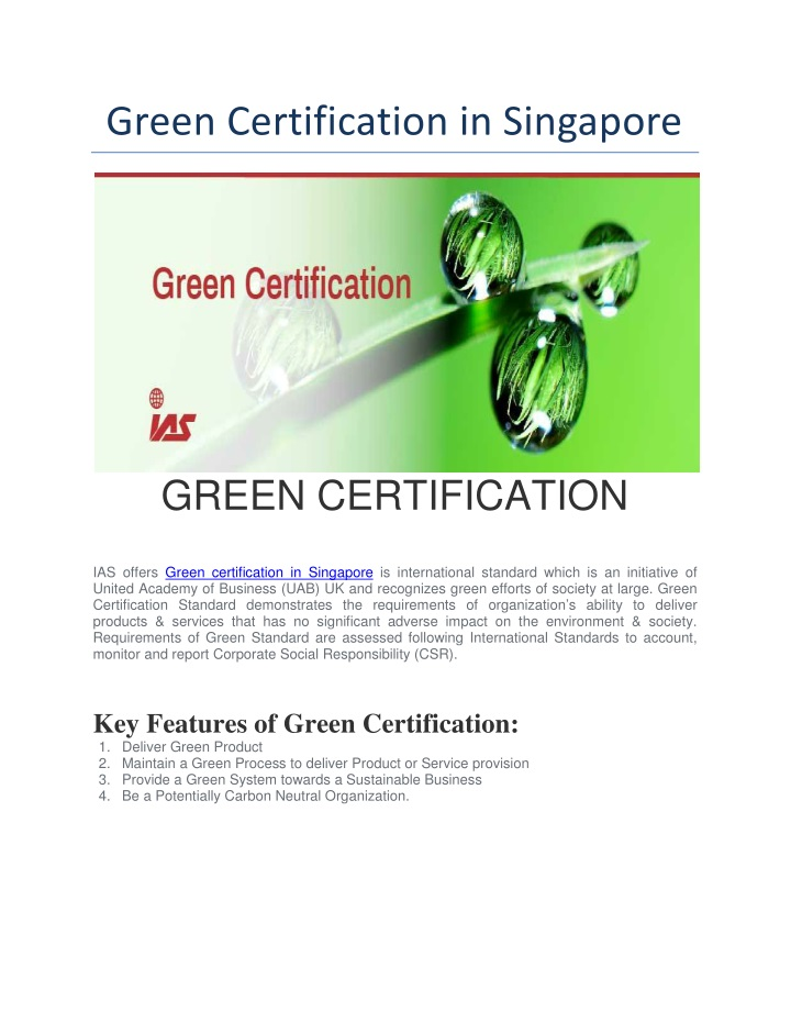green certification in singapore n.