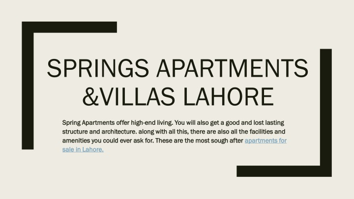 springs apartments villas lahore n.