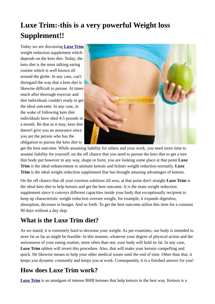 luxe trim this is a very powerful weight loss n.