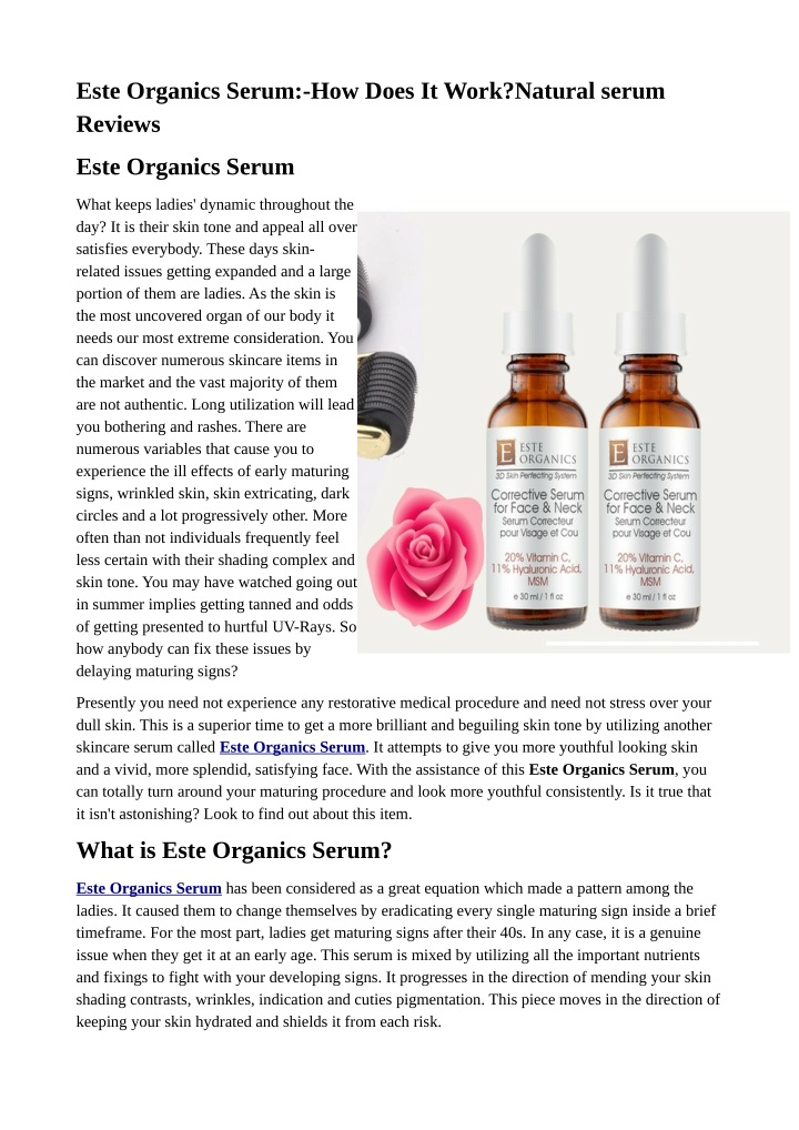 este organics serum how does it work natural n.