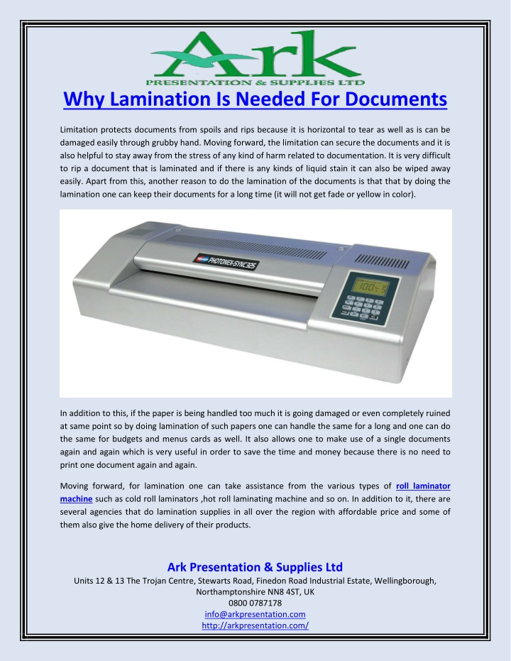 why lamination is needed for documents n.