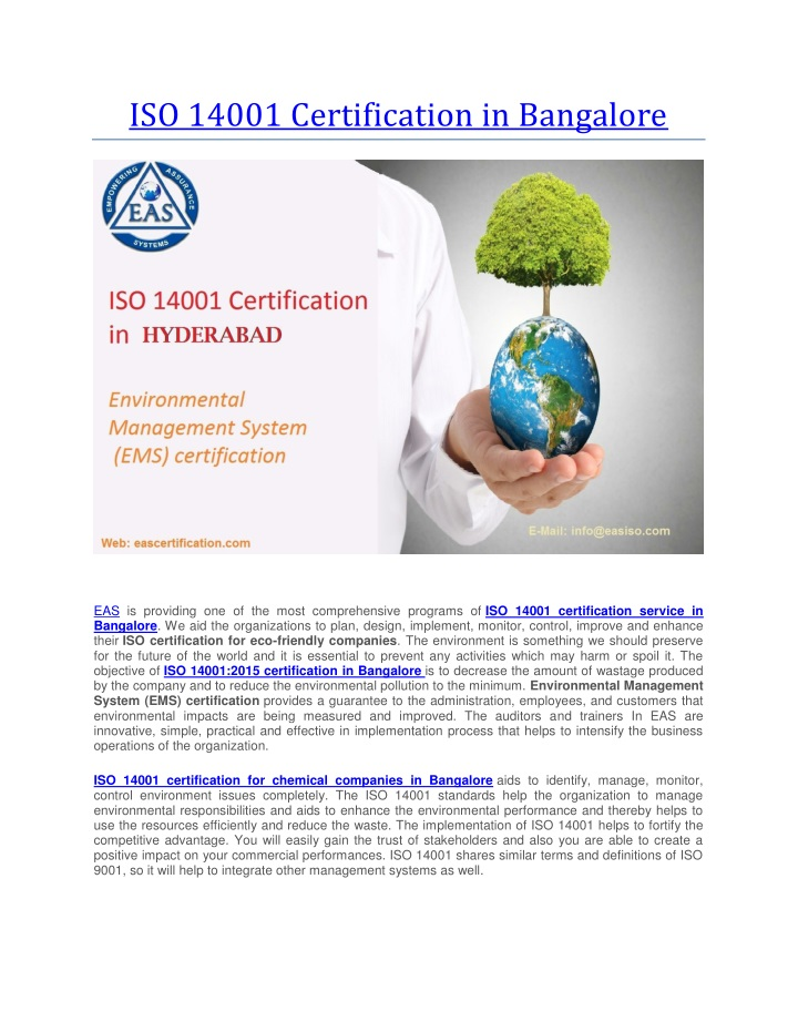 iso 14001 certification in bangalore n.