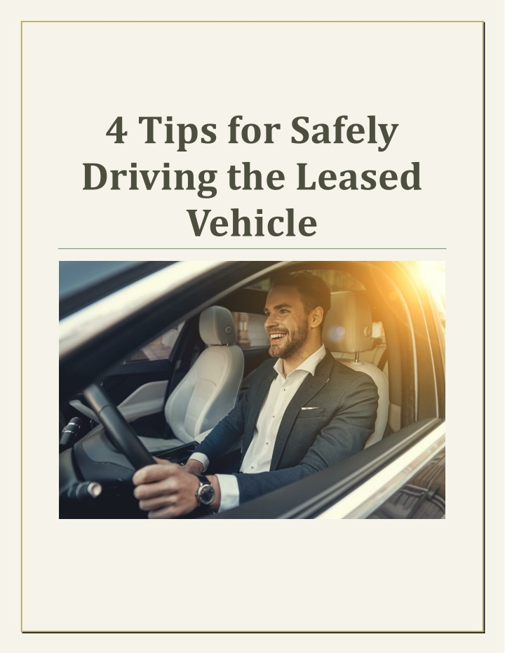 4 tips for safely driving the leased vehicle n.
