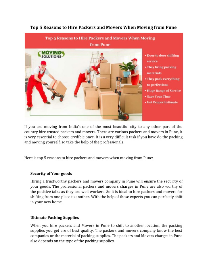 top 5 reasons to hire packers and movers when n.