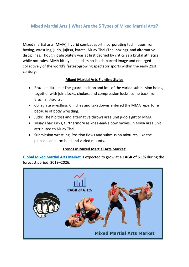mixed martial arts what are the 5 types of mixed n.