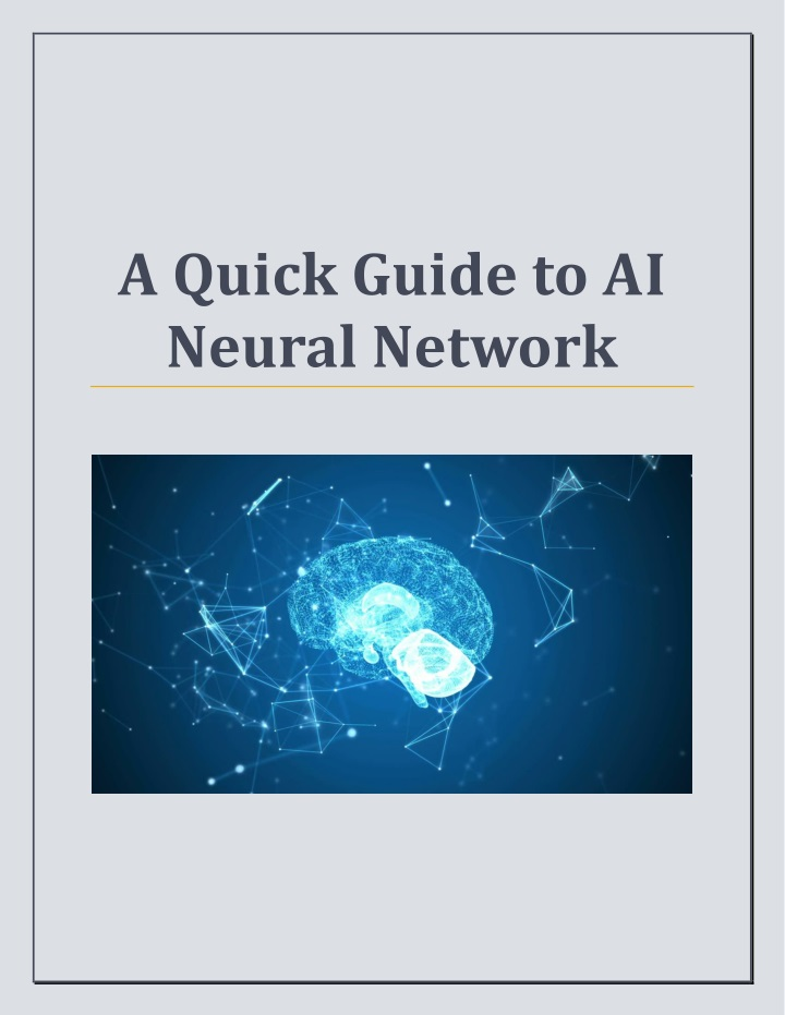 a quick guide to ai neural network n.