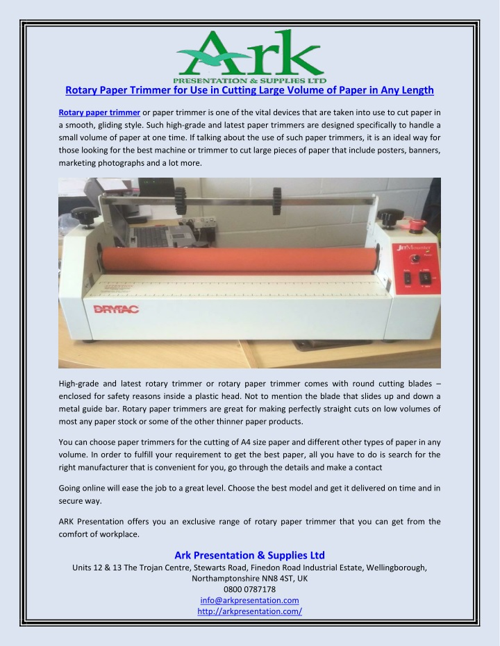 rotary paper trimmer for use in cutting large n.