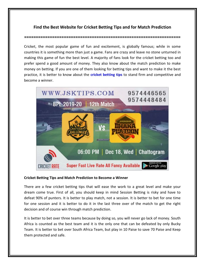 find the best website for cricket betting tips n.