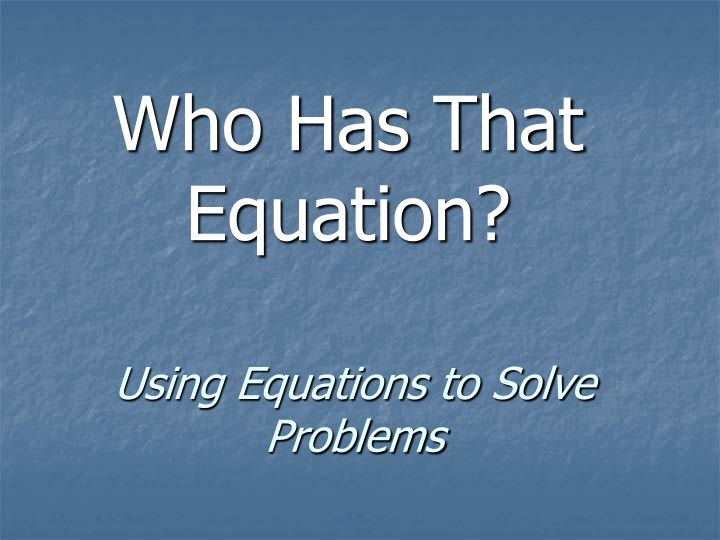 using equations to solve problems n.