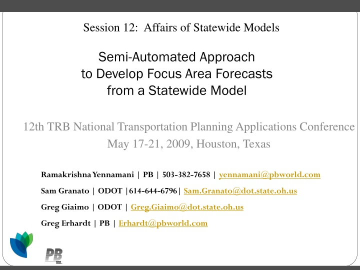 session 12 affairs of statewide models n.