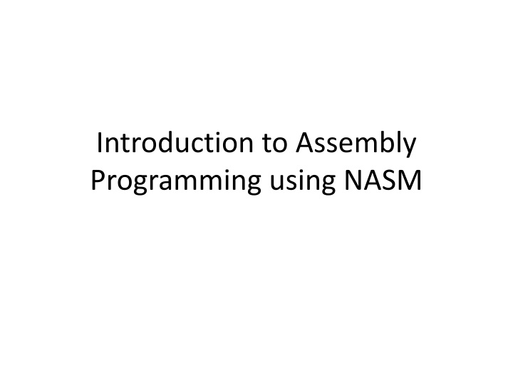 introduction to assembly programming using nasm n.