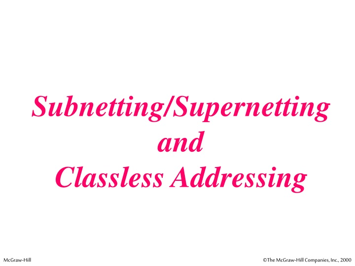 subnetting supernetting and classless addressing n.