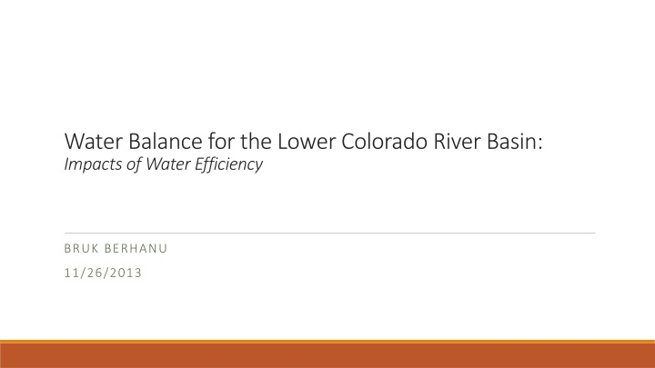 water balance for the lower colorado river basin impacts of water efficiency n.