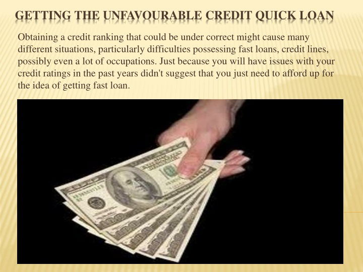 getting the unfavourable credit quick loan n.