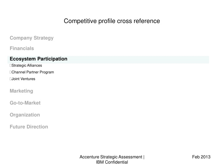 competitive profile cross reference n.