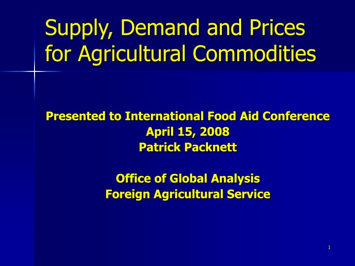 supply demand and prices for agricultural commodities n.