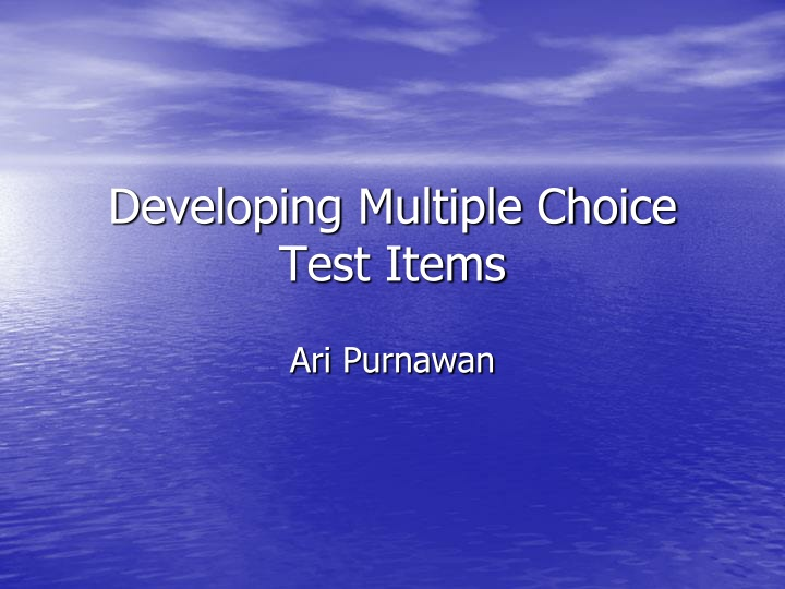 developing multiple choice test items n.