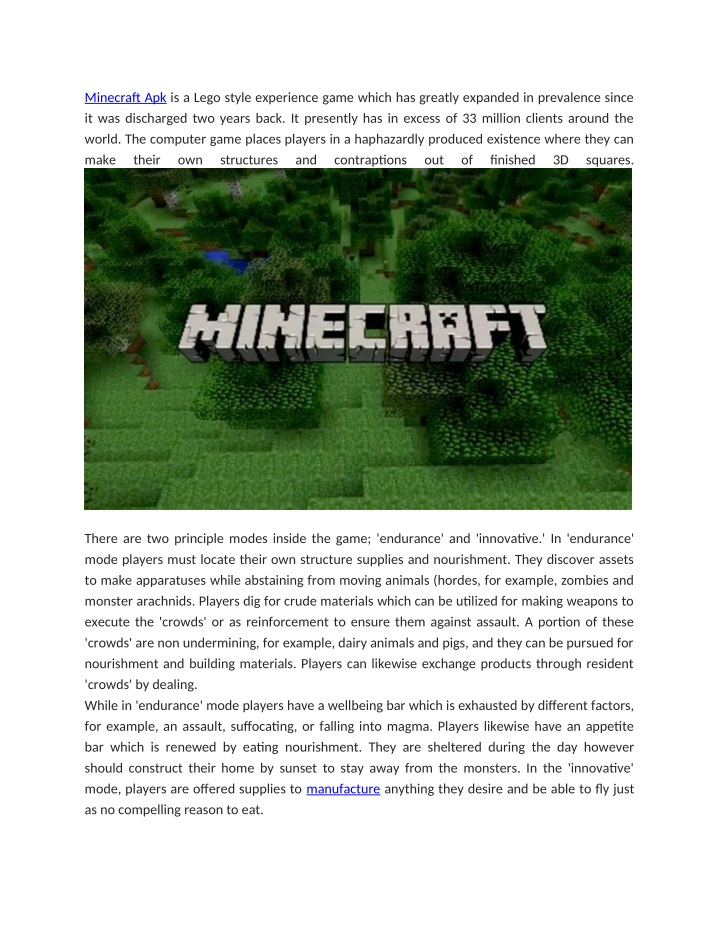 minecraft apk is a lego style experience game n.