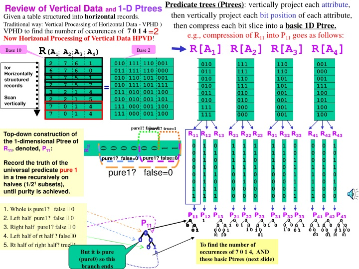 predicate trees ptrees vertically project each n.