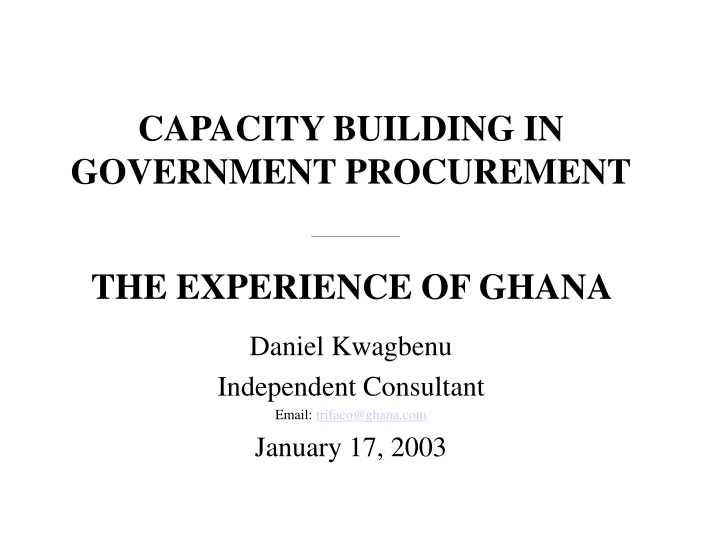 capacity building in government procurement n.