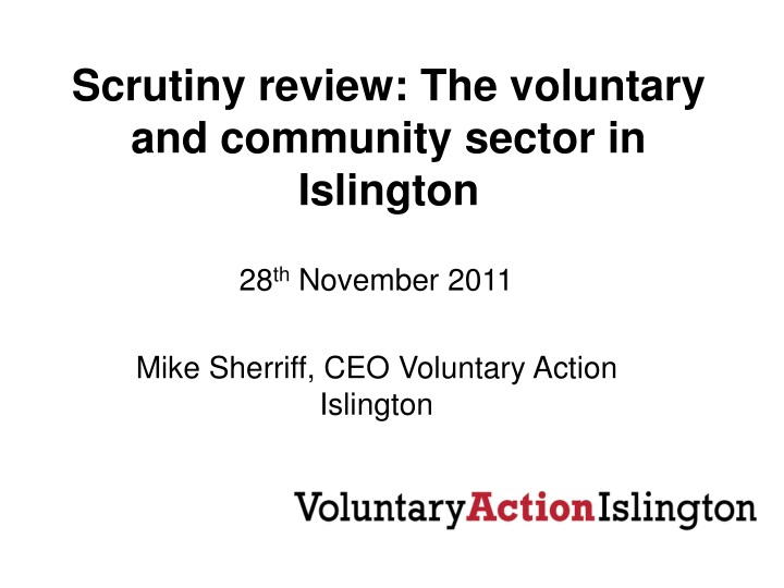 scrutiny review the voluntary and community sector in islington n.